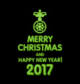 Christmas neon sign green merry Christmas and vector image