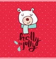 christmas red polar bear doodle greeting card vector image