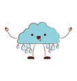 cloud with raindrops kawaii caricature in blurred vector image vector image