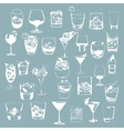 Cocktails set glasses collection drinking whiskey vector image vector image