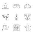 Country of France icons set outline style vector image vector image