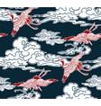 crane birds sky cloud japanese chinese design vector image vector image