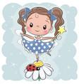 cute fairy on the flower vector image