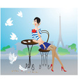 Cute young girl in Paris street cafe vector image vector image