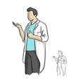 doctor or scientist showing thumb up vector image vector image