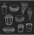 fast food meals vecor icons set of chalk sketch vector image vector image