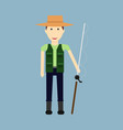 fisher cartoon character fishermen holding vector image