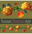 Floral ornamental frame in Russian Zhostovo style vector image