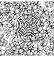 floral pattern in black and white vector image vector image
