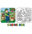 Funy farmer or gardener with apples Coloring book vector image