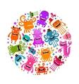Halloween Cute monsters or microbes Cartoon vector image