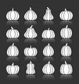 halloween white pumpkin with reflection icon set vector image vector image