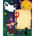Halloween wizard boy vector image vector image