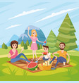happy family on a picnic park outdoor dad mom vector image
