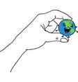 happy smiling earth globe held a big hand vector image vector image