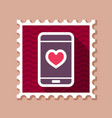 heart smartphone stamp romantic telephone call vector image