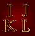 i j k l golden vintage letters with shadow vector image