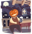 Jack O Lantern with a Pint of Beer vector image vector image