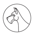 Linear emblem with dog vector image vector image