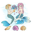 mermaid bouquet sea underwater party vector image