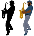 musician plays saxophone vector image vector image