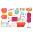 needlework sewing tailoring tools set tailor vector image