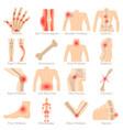 orthopedic diseases icons set cartoon style vector image