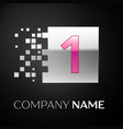 pink number one logo symbol in the silver square vector image vector image