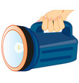 powerful flash-light in hand vector image