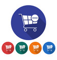 round icon of shopping trolley with minus sign vector image vector image