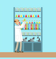 scientist man working research in chemical lab vector image vector image