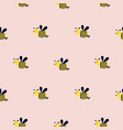 seamless pattern with cute bees on a pink vector image vector image