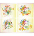 set four floral cards vector image
