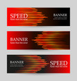 set of horizontal dark red banners with glowing vector image vector image