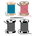 spool icons with sewing needle and thread vector image