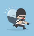 Thief stealing idea bulb and carrying on his back vector image vector image