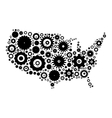 USA map silhouette mosaic of cogs and gears vector image vector image