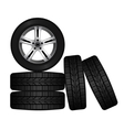 Wheel and tire set for transport or service design vector image vector image