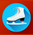 white classic ice skates icon on blue vector image vector image