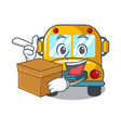 with box school bus character cartoon vector image