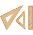 wooden school triangle and ruler vector image vector image
