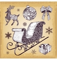 Hand drawn Christmas sleight decoration doodles vector image