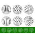 3d wire-frame gridded spheres set vector image