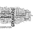 adware spyware removal text word cloud concept vector image vector image