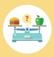 Apple and hamburger on scales vector image vector image