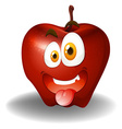Apple with silly face vector image