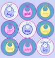 baby bib for girl and boy in vector image