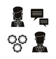 black silhouettes of icons set communication vector image vector image
