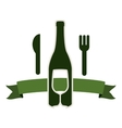 bottle wine and goblet with cutlery vector image