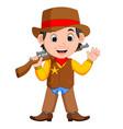 cartoon cowboy with a gun vector image vector image